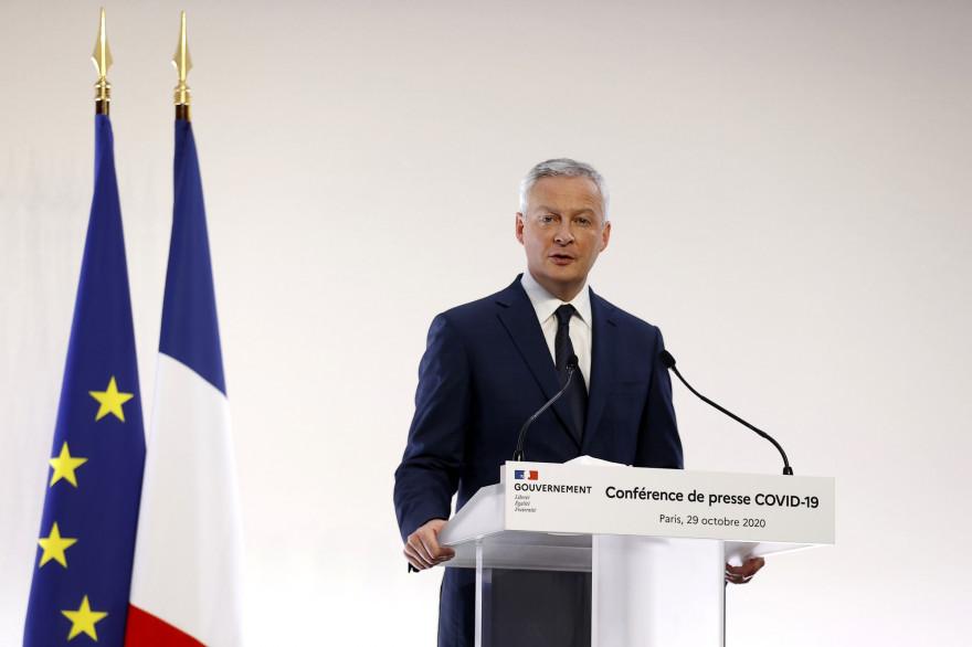 Le ministre de l'Économie Bruno Le Maire lors d'un point presse, le 29 octobre 2020 à Paris.