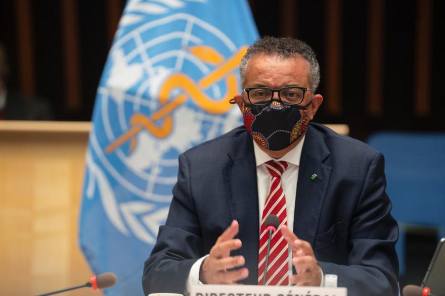 Le directeur général de l'OMS, Tedros Adhanom Ghebreyesus, lors d'une conférence sur l'épidémie de coronavirus à Genève, le 5 octobre 2020.