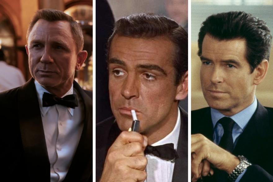 Daniel Craig, Sean Connery et Pierce Brosnan dans le costume de James Bond
