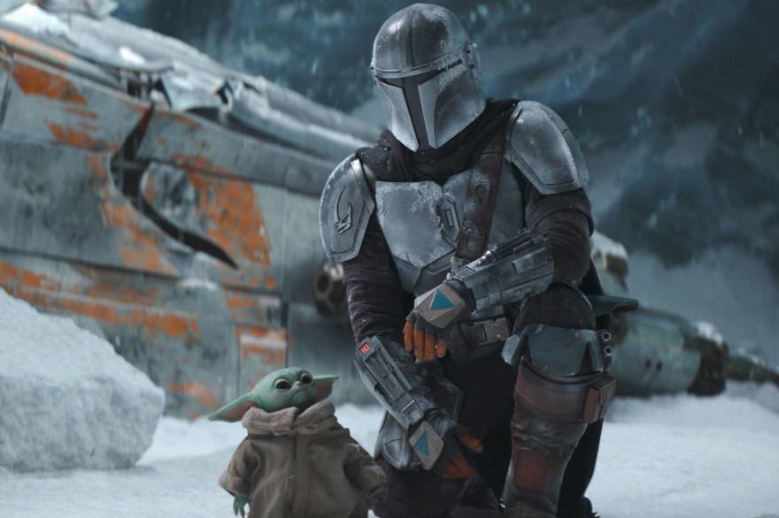 Mando et Baby Yoda, bloqués sur une planète gelée