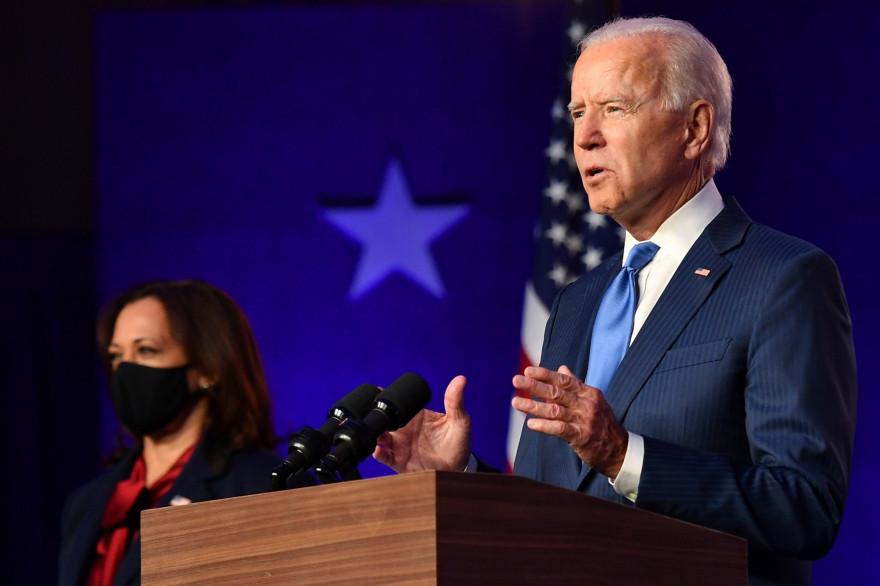 Joe Biden lors de son allocution ce vendredi 6 novembre au soir à Wilmington.