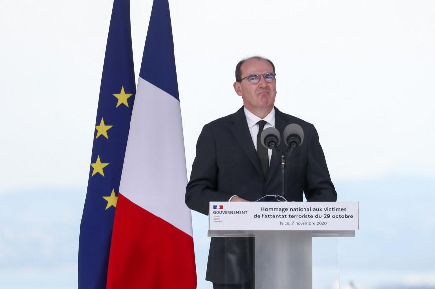 Le Premier ministre, Jean Castex, a l'hommage en l'honneur des victimes de l'attaque à Nice