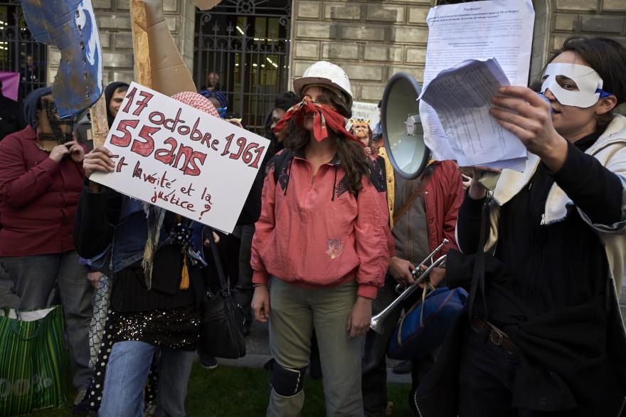"""Une manifestation pour """"le désarmement de la police à Saint-Étienne samedi 22 octobre."""