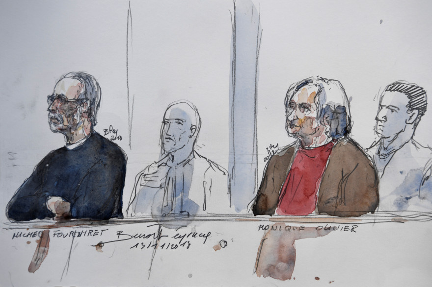 Michel Fourniret et son ex-épouse Monique Olivier lors du procès pour le meurtre de Farida Hamiche en novembre 2018 à Versailles