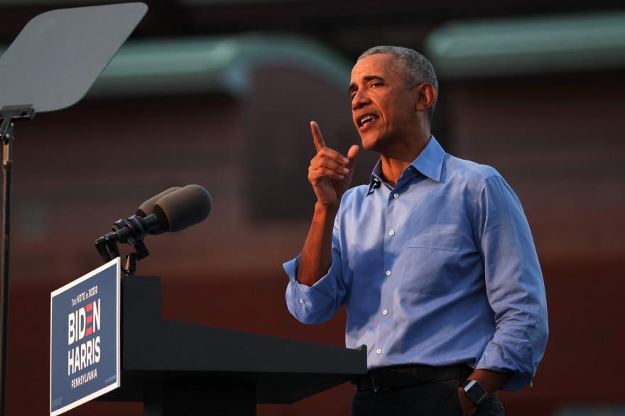 Barack Obama; lors d'un meeting en soutien à Joe Biden, à Philadelphie, le 21 octobre 2020.