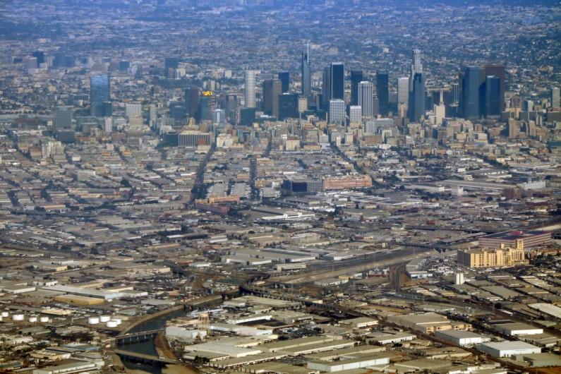 Une vue aérienne du centre-ville de Los Angeles
