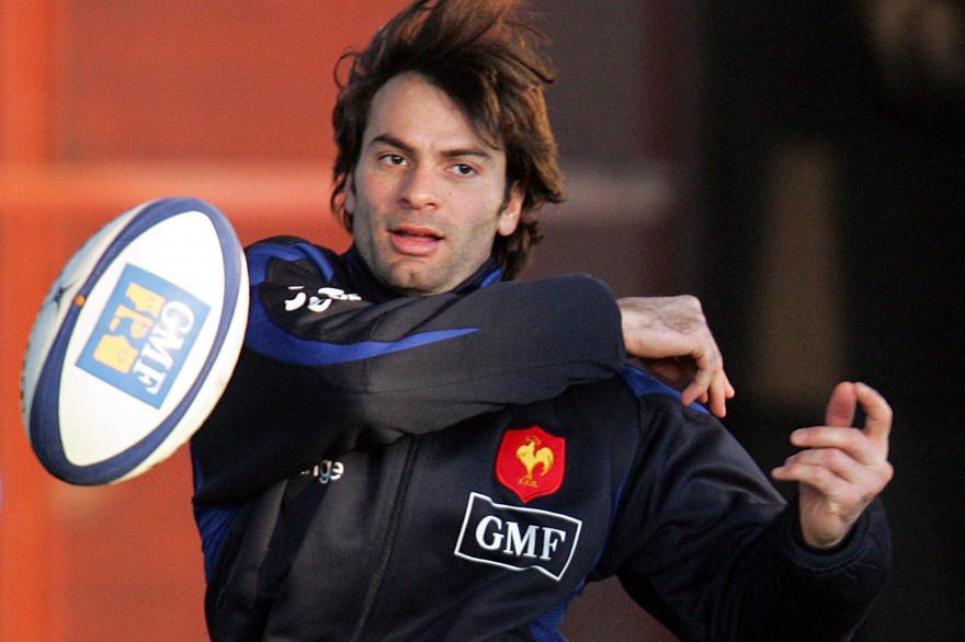 Le rugbyman Christophe Dominici lors d'un entraînement le 31 janvier 2006 à Marcoussis (Essonne).