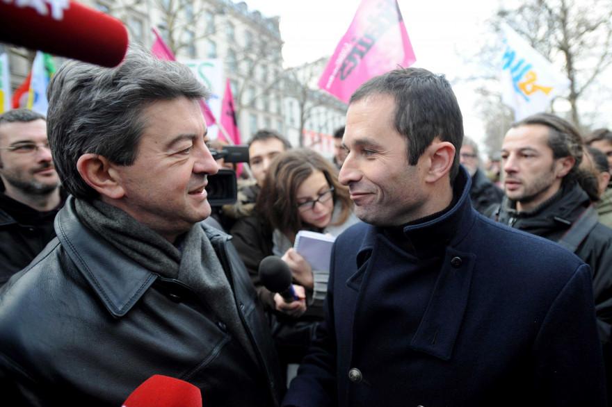 Jean-Luc Mélenchon et Benoit Hamon le 21 janvier 2010 à Paris.