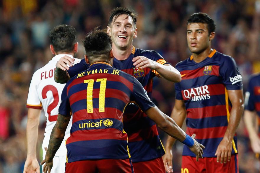 Messi, Neymar et Rafinha seront titulaires face au PSG, comme ici contre la Roma.