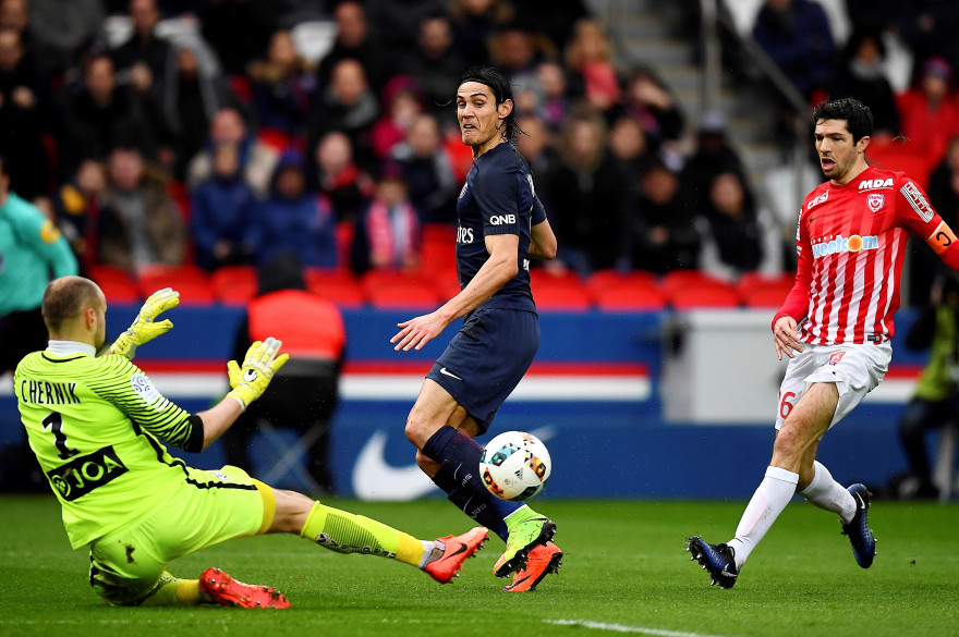 Cavani face à Nancy le 4 mars 2017