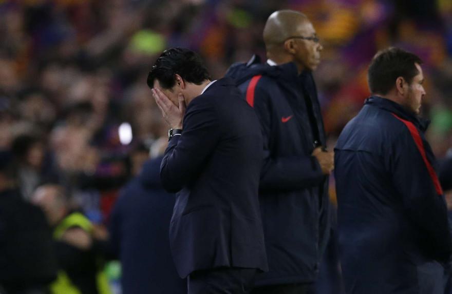 Unai Emery après le match retour de la Ligue des Champions entre le FC Barcelone et le PSG