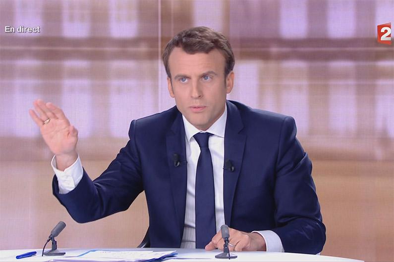 Emmanuel Macron lors du débat présidentiel le 3 mai 2017
