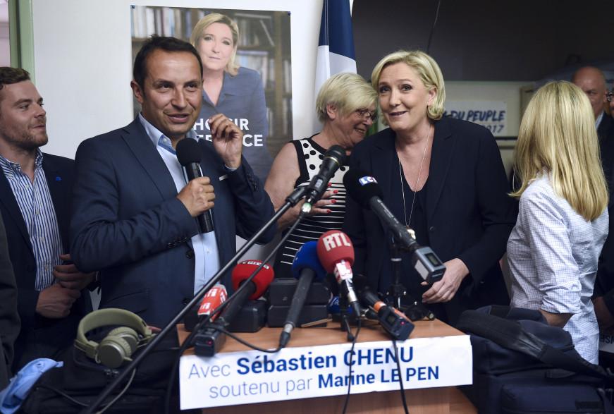Marine Le Pen, venu soutenir Sébastien Chenu, le 2 juin.