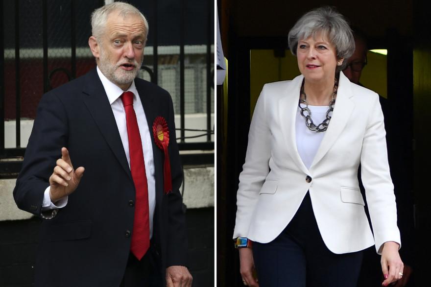 Le leader du parti travailliste britannique Jeremy Corbyn et la Première ministre britannique Theresa May