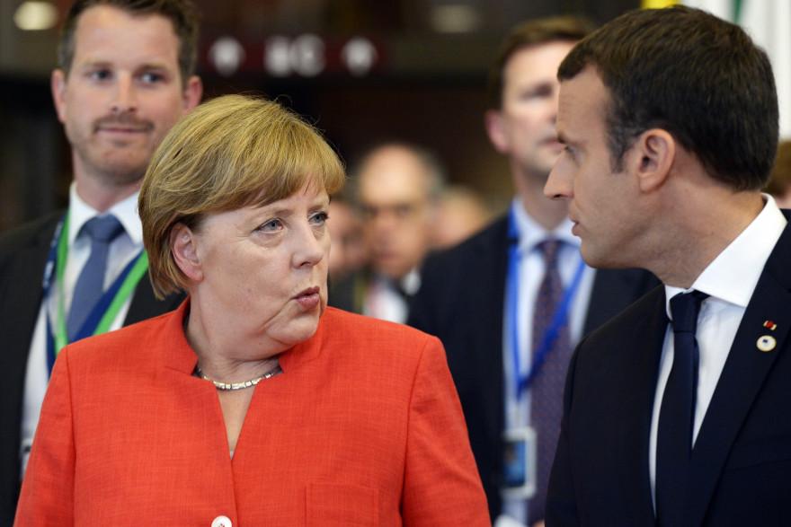 Angela Merkel et Emmanuel Macron à Bruxelles le 23 juin 2017.