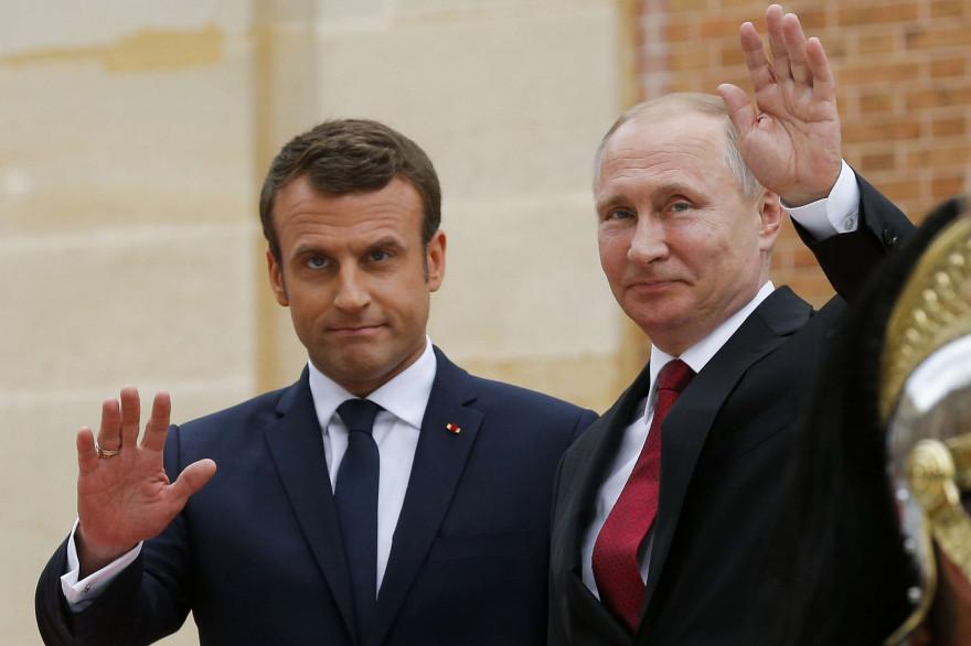 Emmanuel Macron et Vladimir Poutine à Versailles, le 29 mai 2017