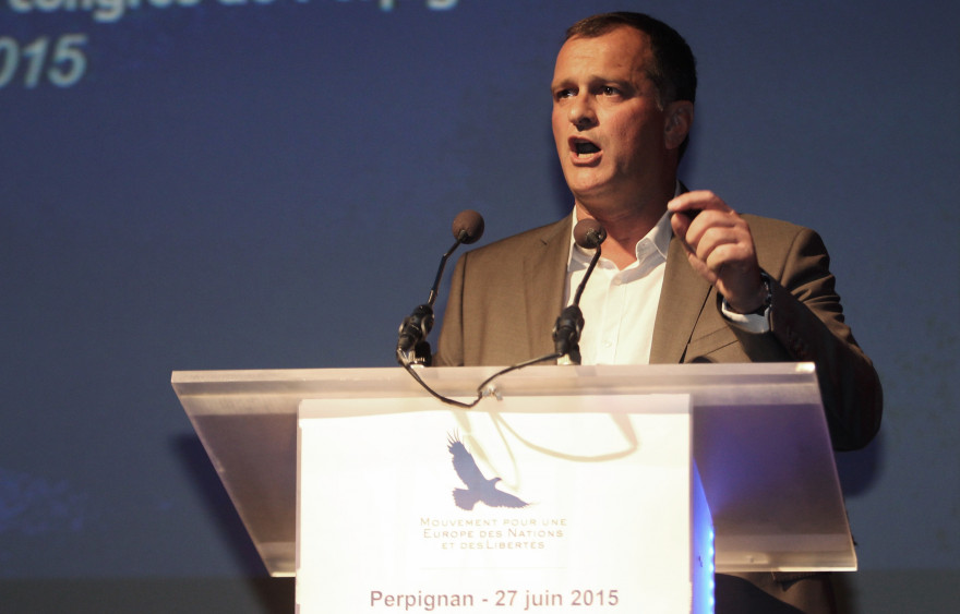 Louis Aliot le vice-président du Front national, au Palais des Congrès de Perpignan en juin 2015
