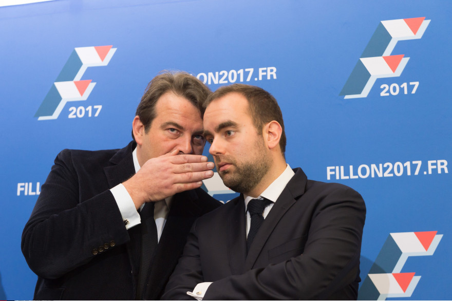 Thierry Solère et Sébastien Lecornu à Paris le 15 décembre 2016.
