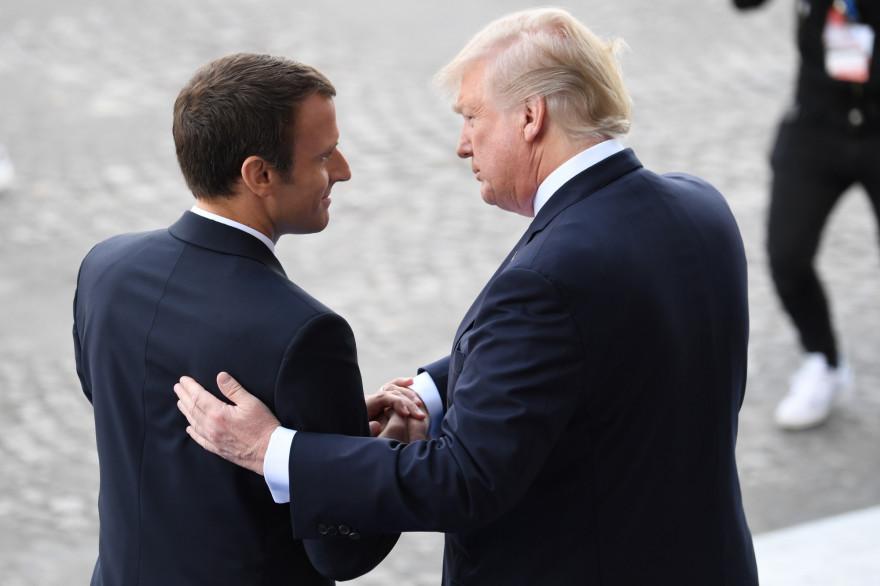Emmanuel Macron et Donald Trump lors du défilé militaire du 14 juillet aux Champs-Élysées.