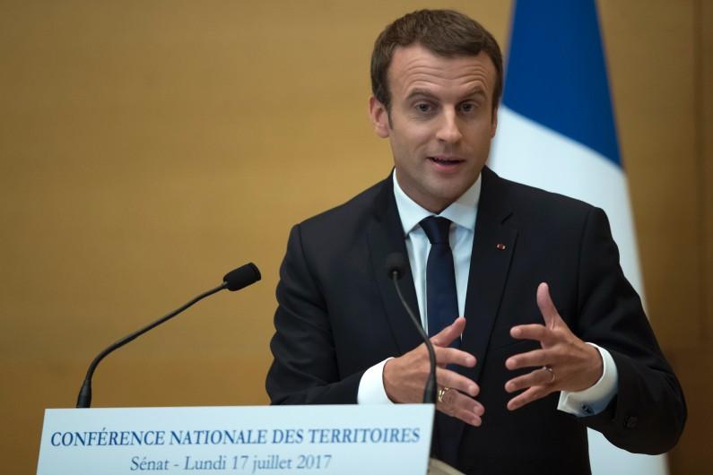 Emmanuel Macron devant la Conférence nationale des territoires réunie au Sénat, le 17 juillet 2017