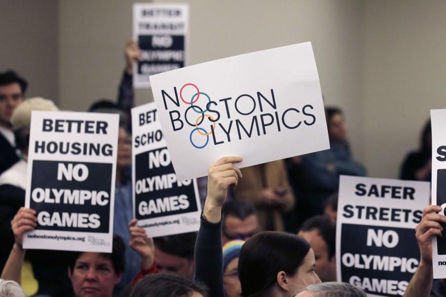 Manifestation contre l'organisation des JO 2024 à Boston, aux USA, en février 2015