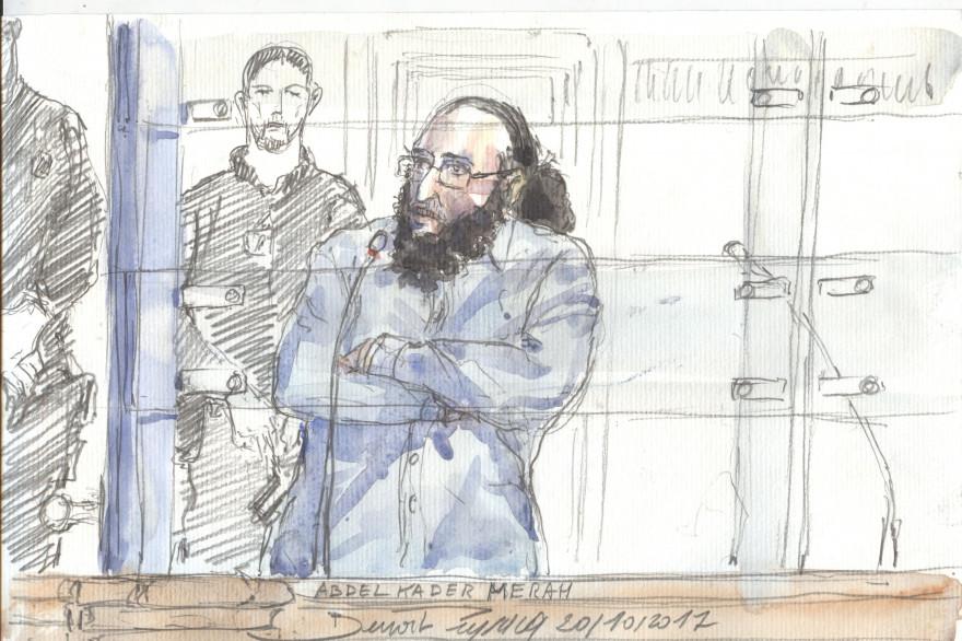 Abdelkader Merah lors de son procès pour complicité d'assassinats terroristes le 10 octobre 2017