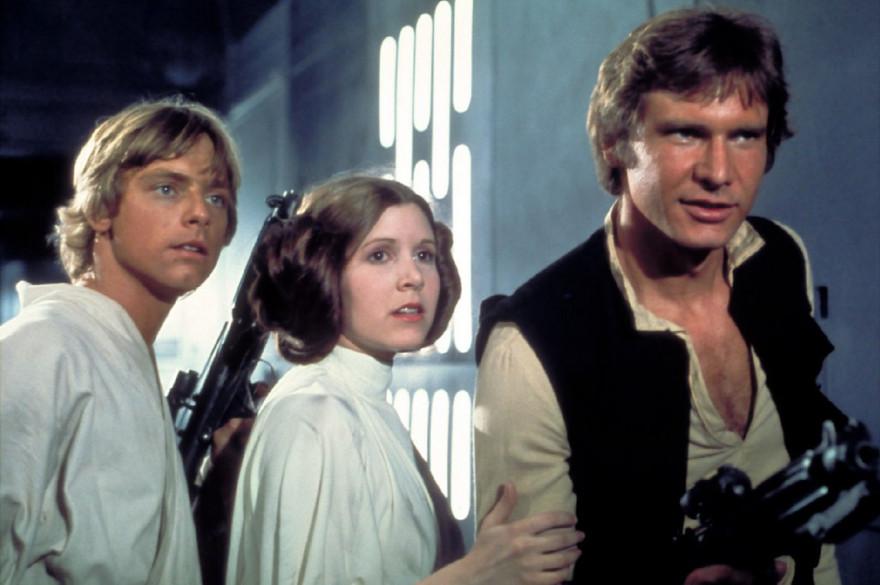 """Luke, Leia Skywalker et Han Solo dans """"La Guerre des Étoiles"""""""