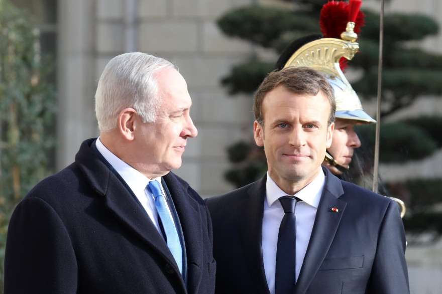 Le Premier ministre israélien Benjamin Netanyahu et le président français Emmanuel Macron à Paris le 10 décembre 2017