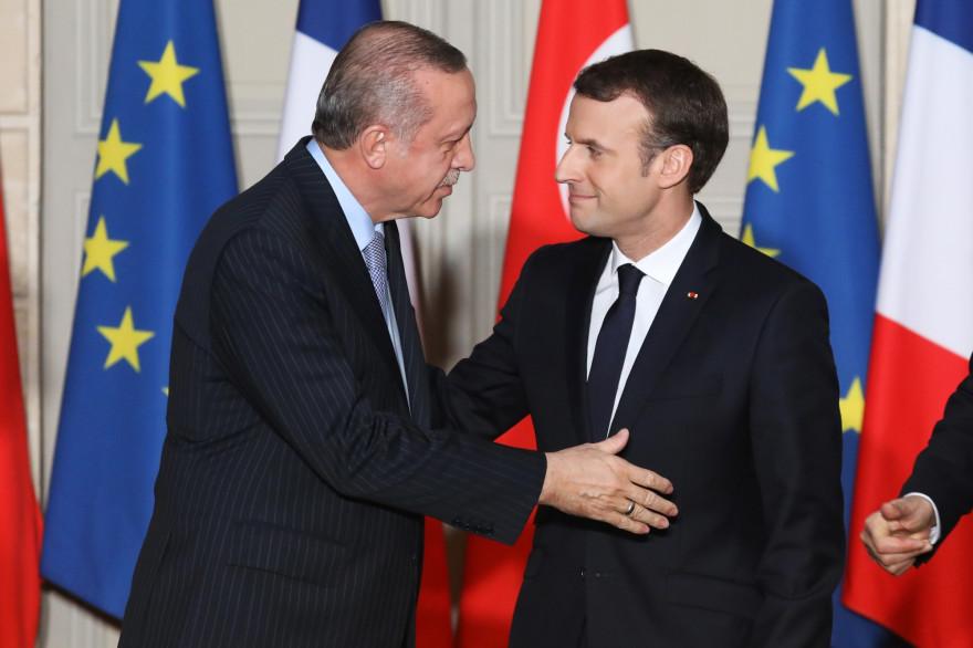 Emmanuel Macron et Recep Tayyip Erdogan à l'Élysée, le vendredi 5 janvier
