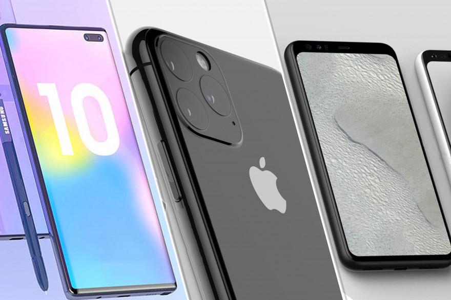 Le Galaxy Note 10, l'iPhone 11 et le Google Pixel 4