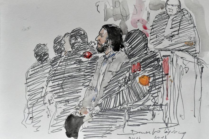 Un dessin représentant Salah Abdeslam lors de son procès à Bruxelles lundi 5 février pour une fusillade survenue en mars 2016 à Forest contre des policiers belges
