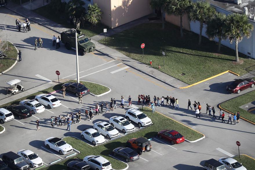 Le lycée Marjory Stoneman Douglas High School de Parkland, en Floride, théâtre d'une fusillade mortelle le 14 février 2018