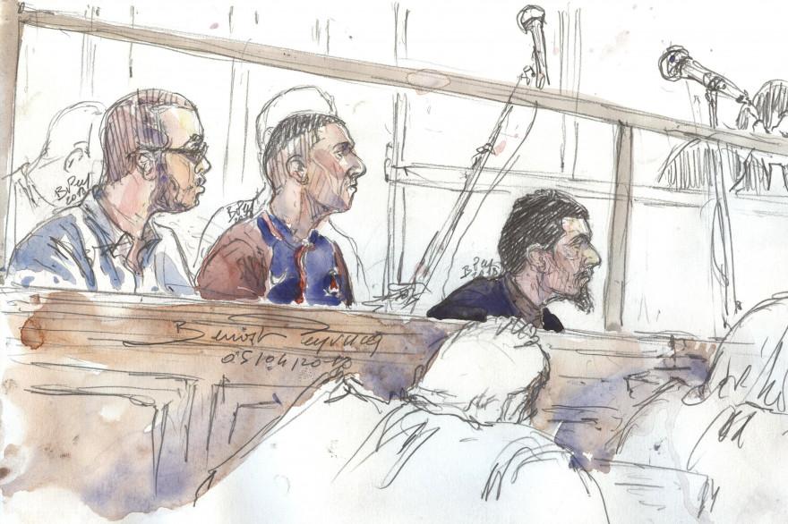Les prévenus dans le box au tribunal correctionnel de Paris, le 5 avril 2018, dans le procès sur la filière jihadiste de Lunel