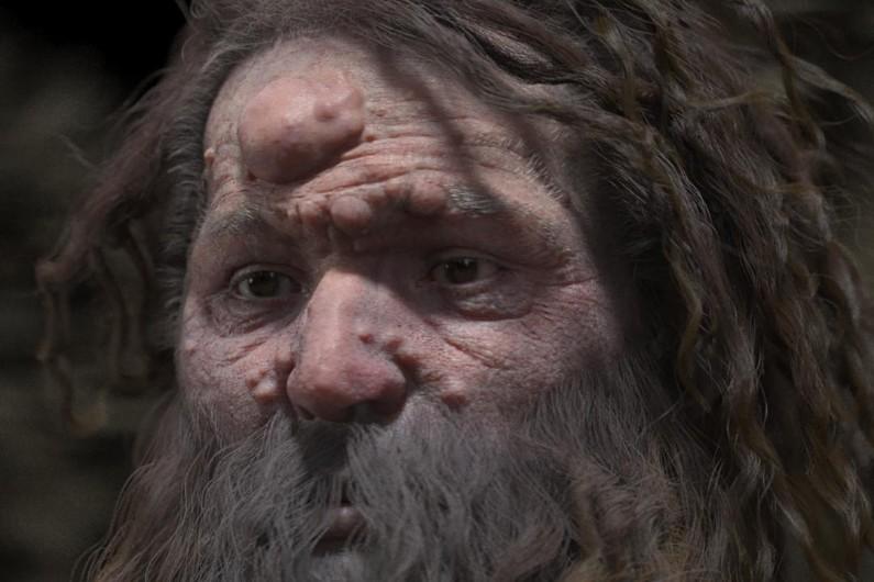Une reproduction du visage d'un homme de Cro-Magnon