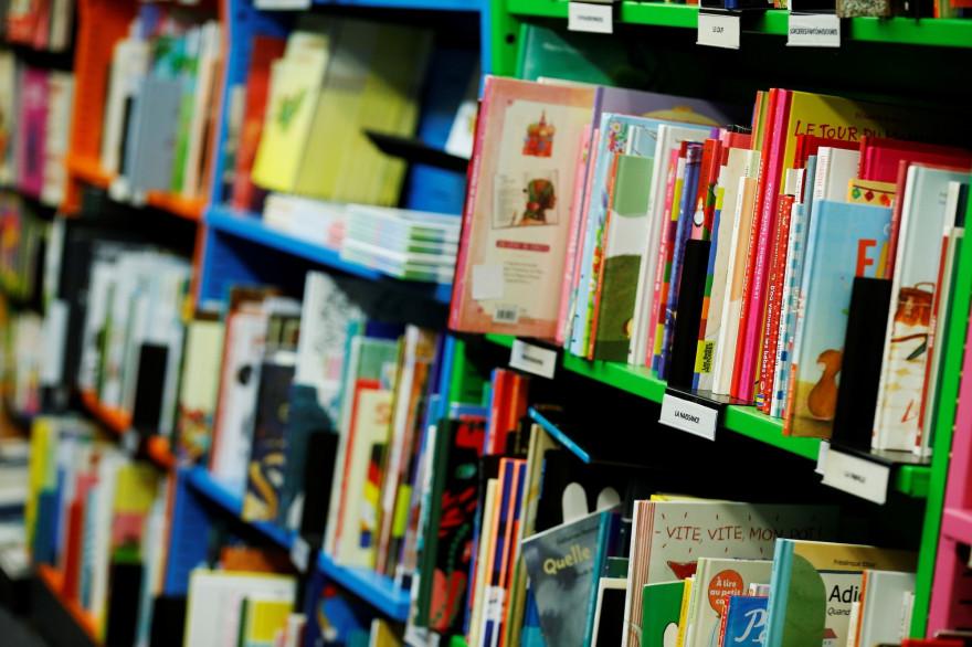Des livres pour enfants dans une bibliothèque (illustration)