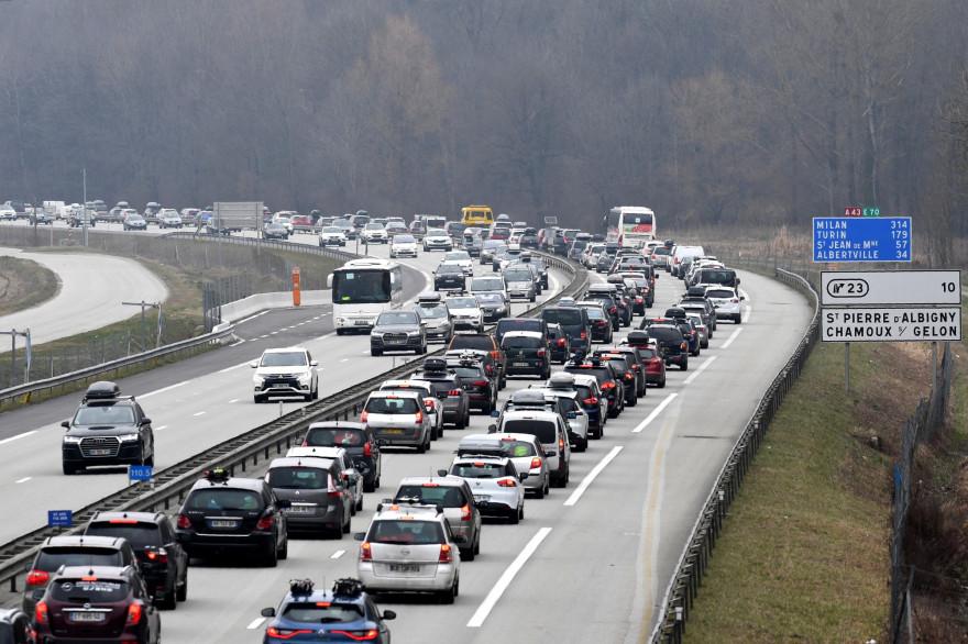 Un embouteillage près de Chambéry, le 24 février 2018 (Illustration)