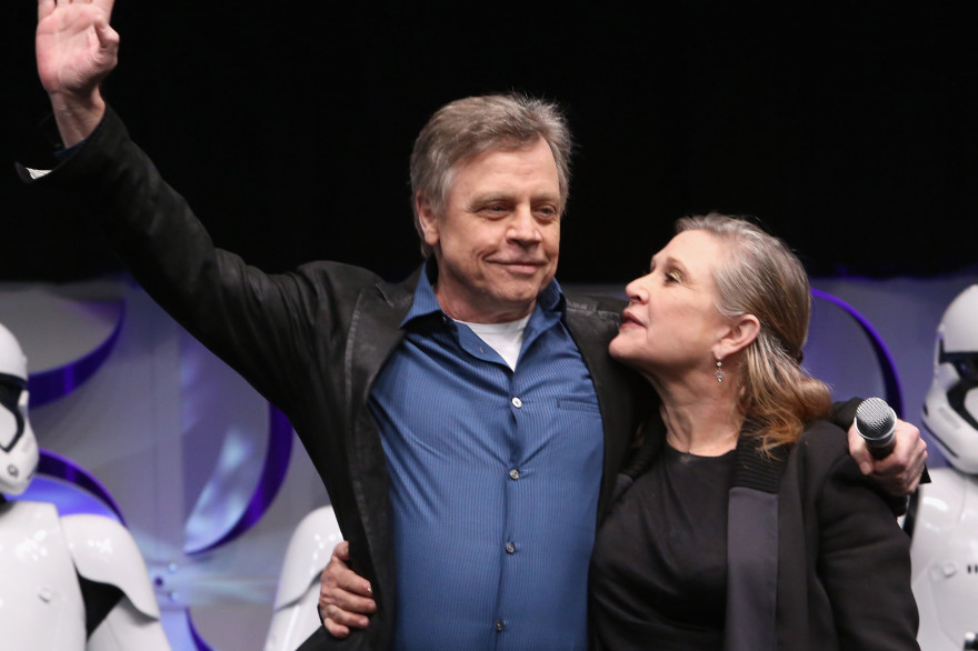 Mark Hamill (Luke Skywalker) et Carrie Fisher (princesse Leia) en 2015