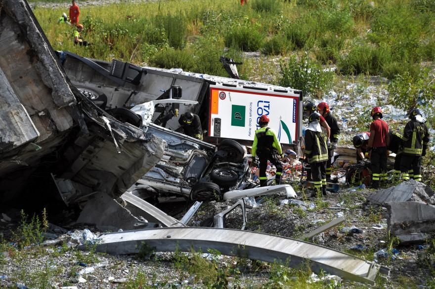 Le viaduc Morandi situé à Gênes, en Italie, s'est écroulé mardi 14 août 2018
