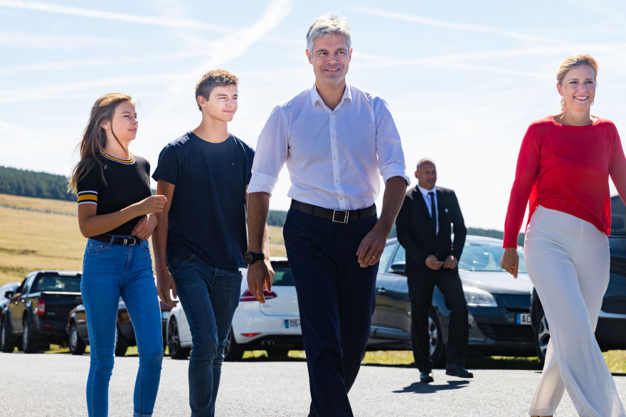 Laurent Wauquiez, lors de l'ascension du Mont Mézenc, le 26 août 2018