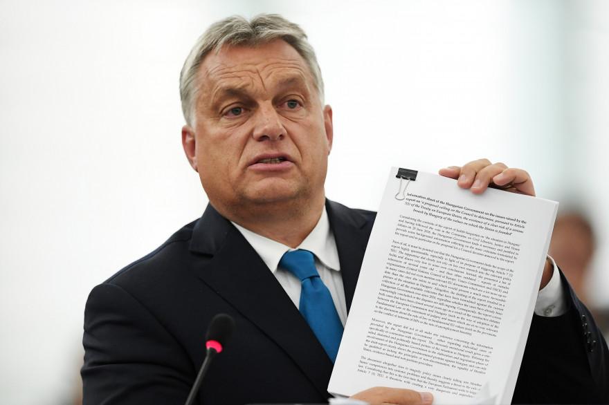 Le premier ministre hongrois Viktor Orban, le 11 septembre au Parlement de Strasbourg