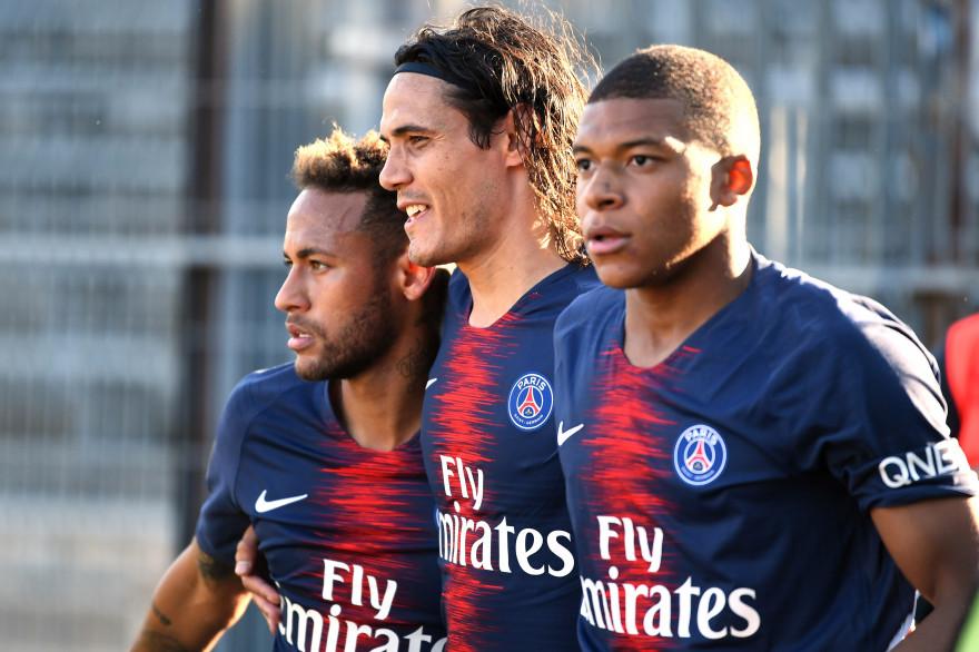 Neymar, Cavani et Mbappé le 1er septembre 2018 à Nîmes