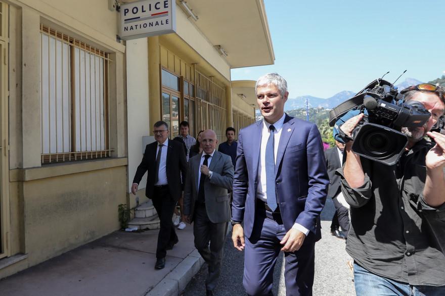 Laurent Wauquiez visite des locaux de la police aux frontières en juin 2018 (illustration)