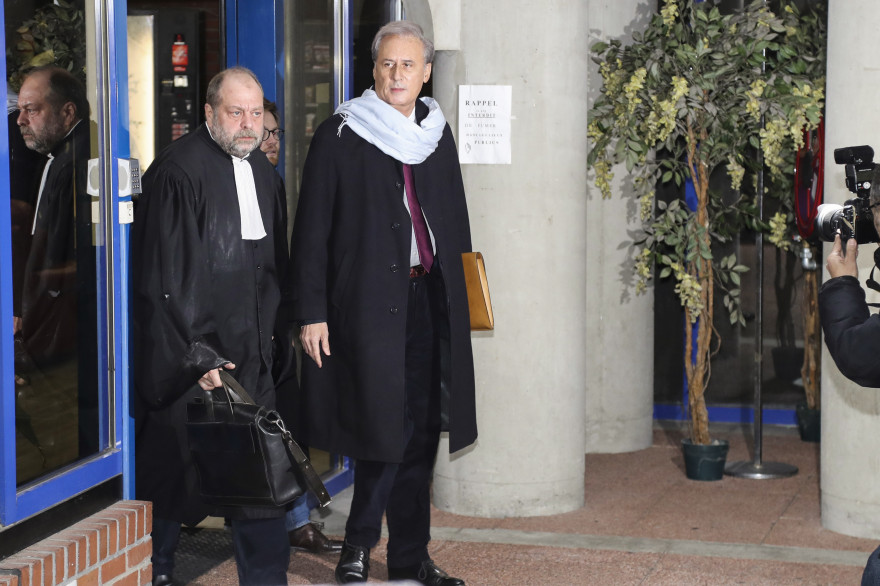 Georges Tron et son avocat Éric Dupond-Moretti le 12 décembre 2017 à Bobigny