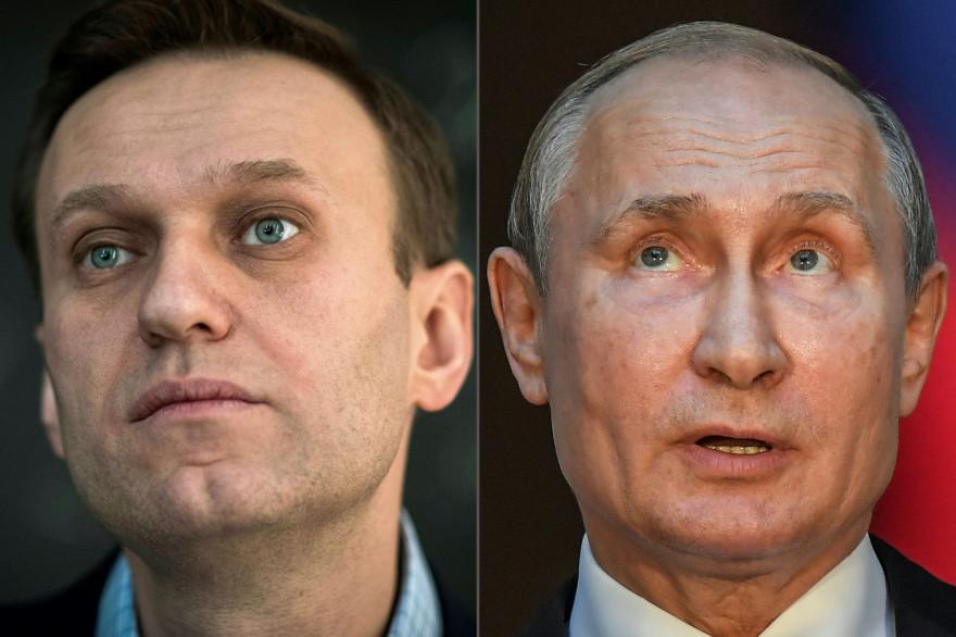 L'opposant politique Alexeï Navalny et le président russe Vladimir Poutine.