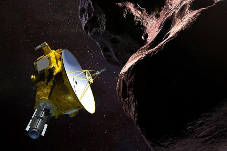 Illustration de la sonde spatiale New Horizons rencontrant Ultima Thule
