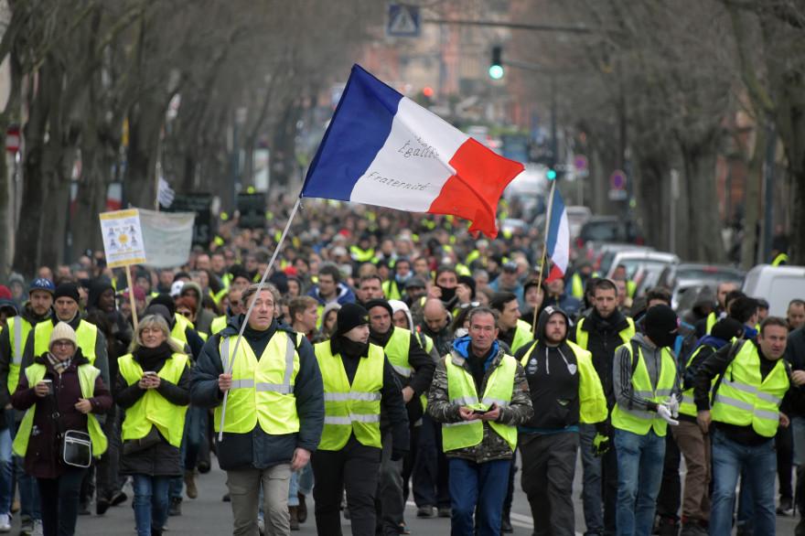 """Manifestation de """"gilets jaunes"""" à Toulouse, le 29 décembre 2018"""