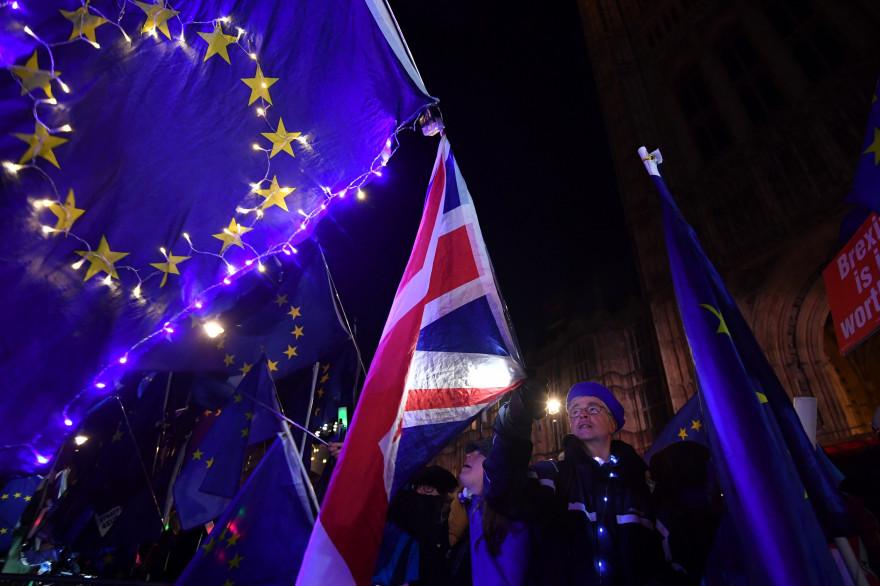 Des anti-Brexit devant le parlement britannique le 12 mars 2019