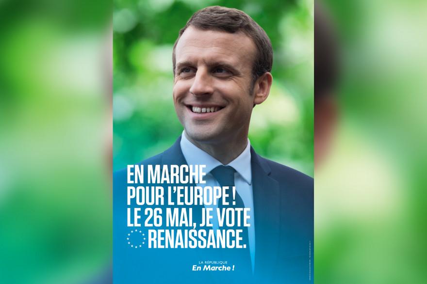 Emmanuel Macron sur l'affiche de campagne LaREM pour les élections européennes