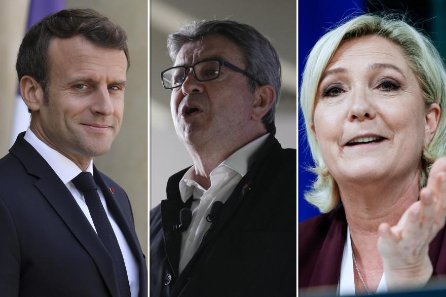Emmanuel Macron, Jean-Luc Mélenchon et Marine Le Pen
